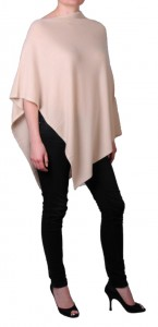Poncho 100% cachemire beige sable