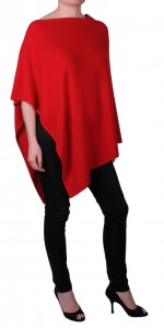 Poncho 100% cachemire rouge