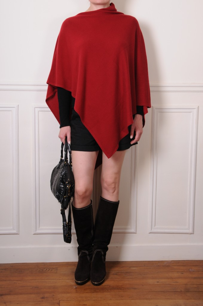dark red cashmere poncho