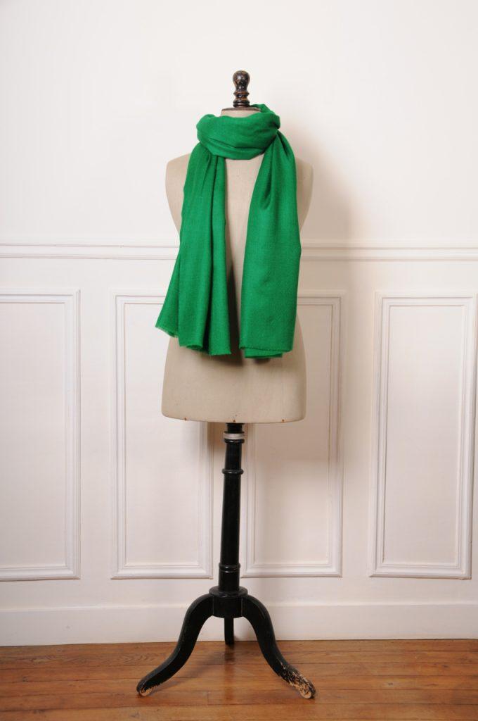 véritable pashmina vert émeraude