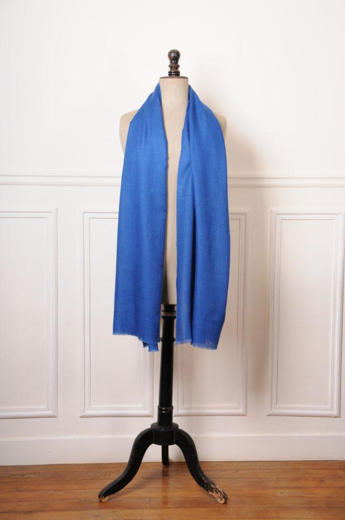 véritable pashmina bleu cobalt