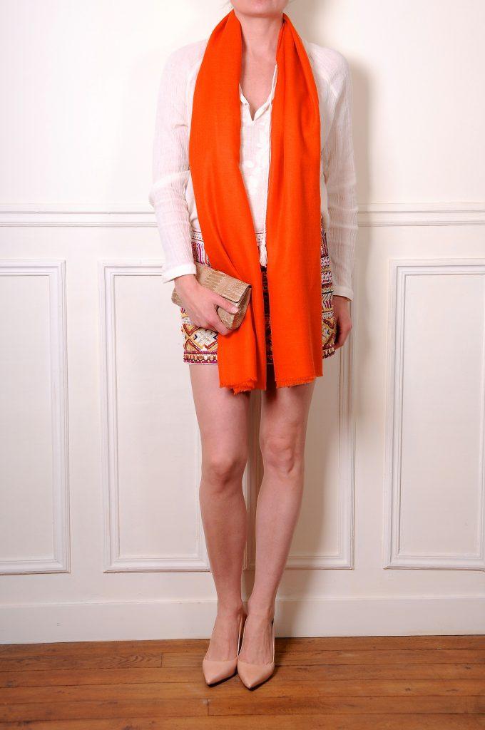 véritable pashmina orange