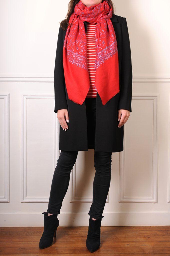pashmina cachemire rouge brodé