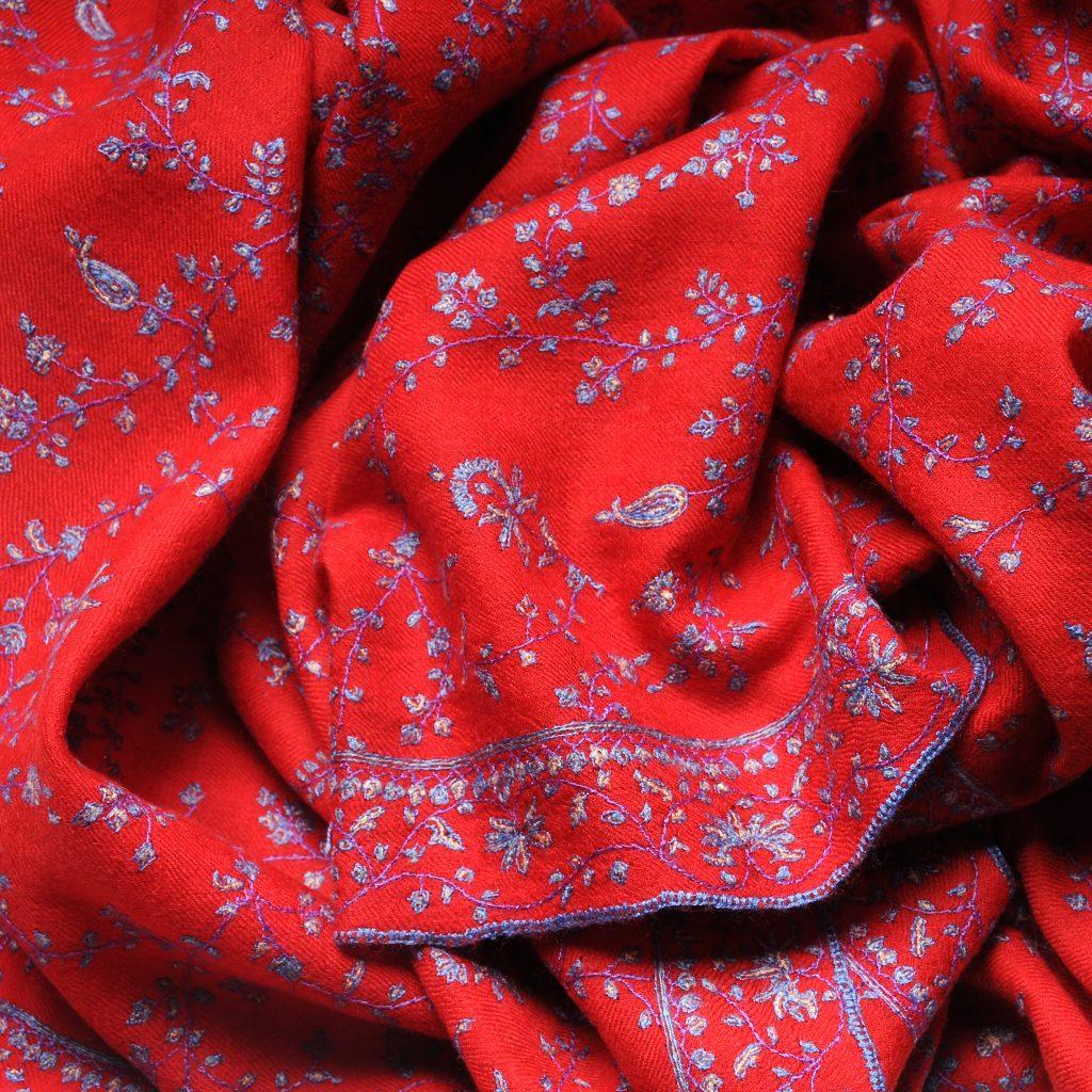 pashmina brodé rouge pur cachemire