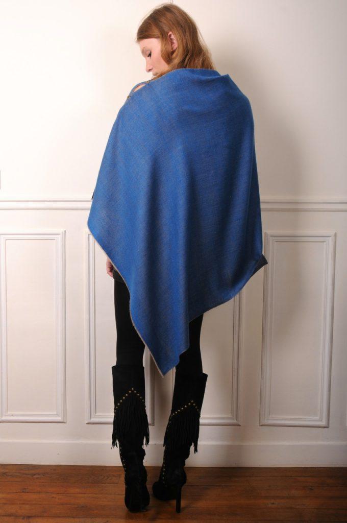 poncho en véritable pashmina 100% pur cachemire de l'Himalaya bleu