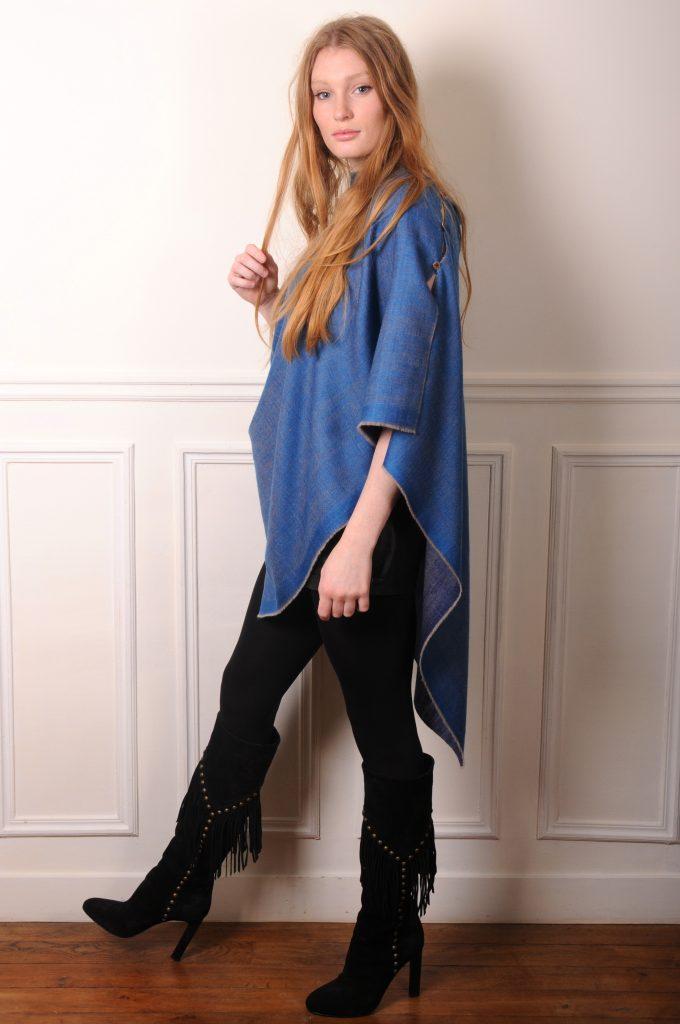 poncho véritable pashmina bleu