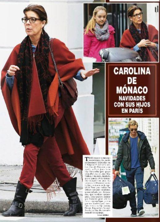 Caroline de Monaco porte un châle pashmina brodé main