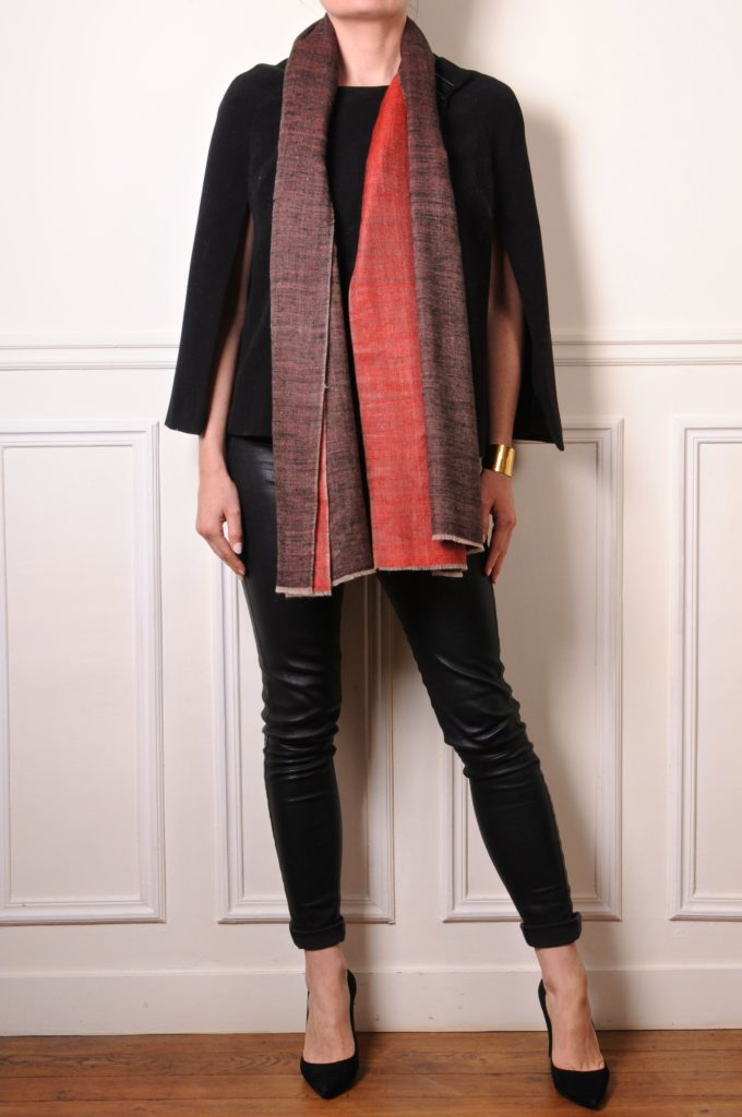 double sided cashmere pashmina stole red and black
