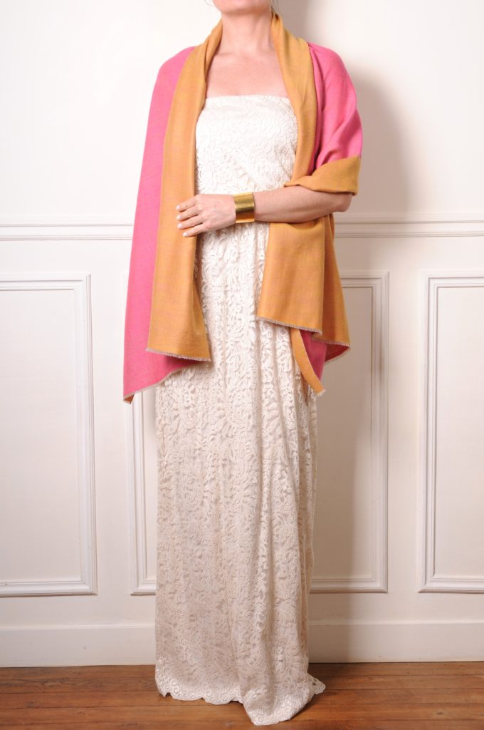 pashmina cashmere double sided pink and yellow