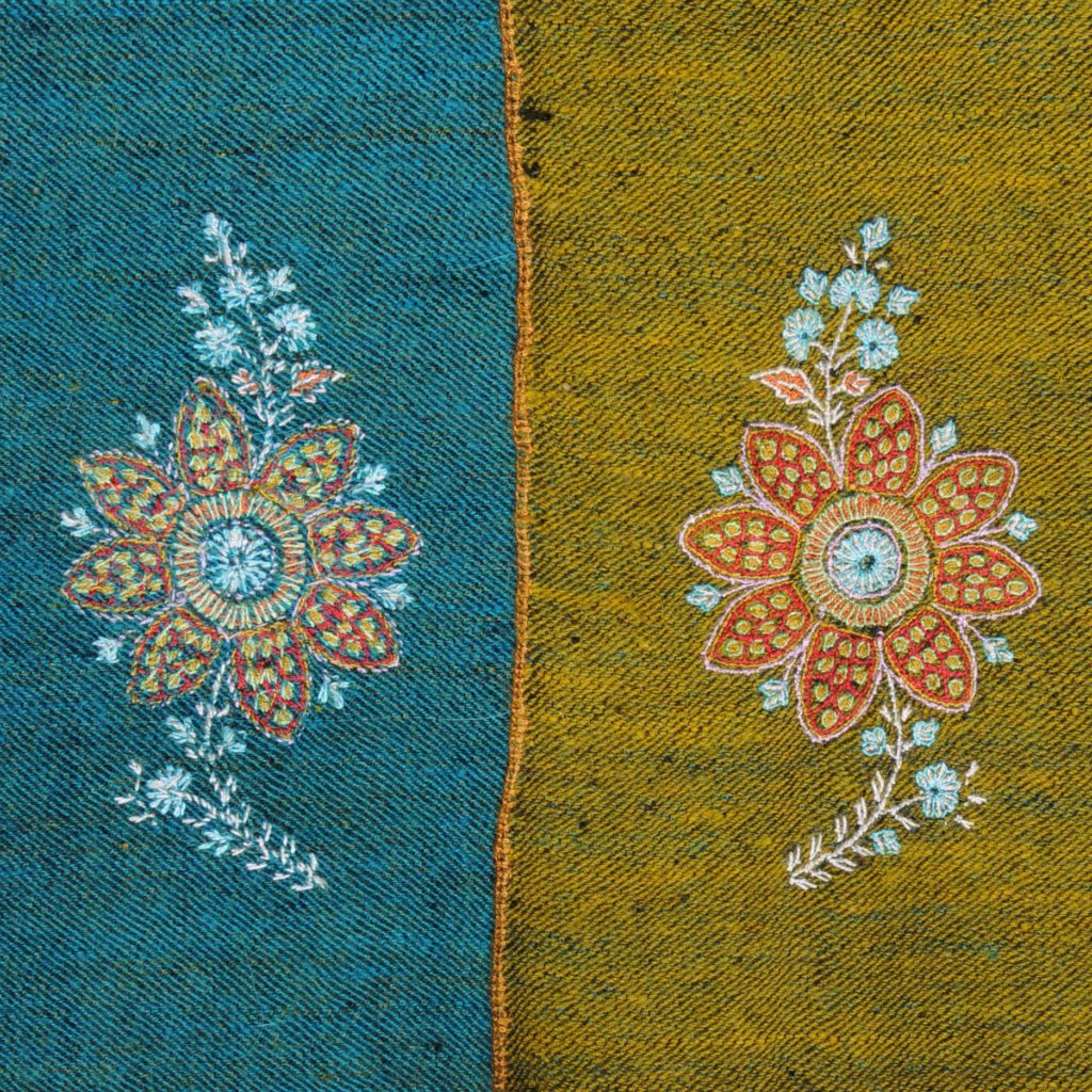 reversible hand embroidered pashmina