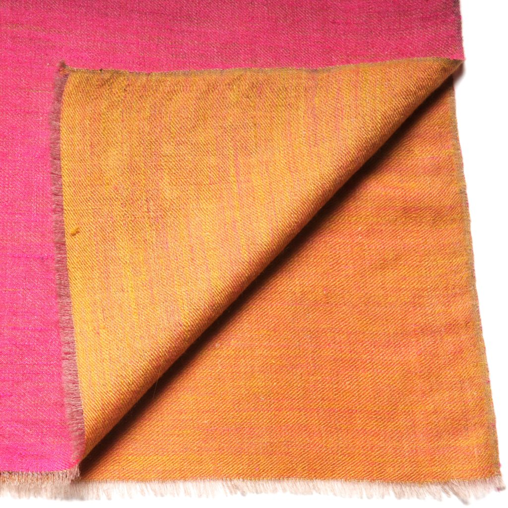 two-tone pink and yellow pashmina cashmere