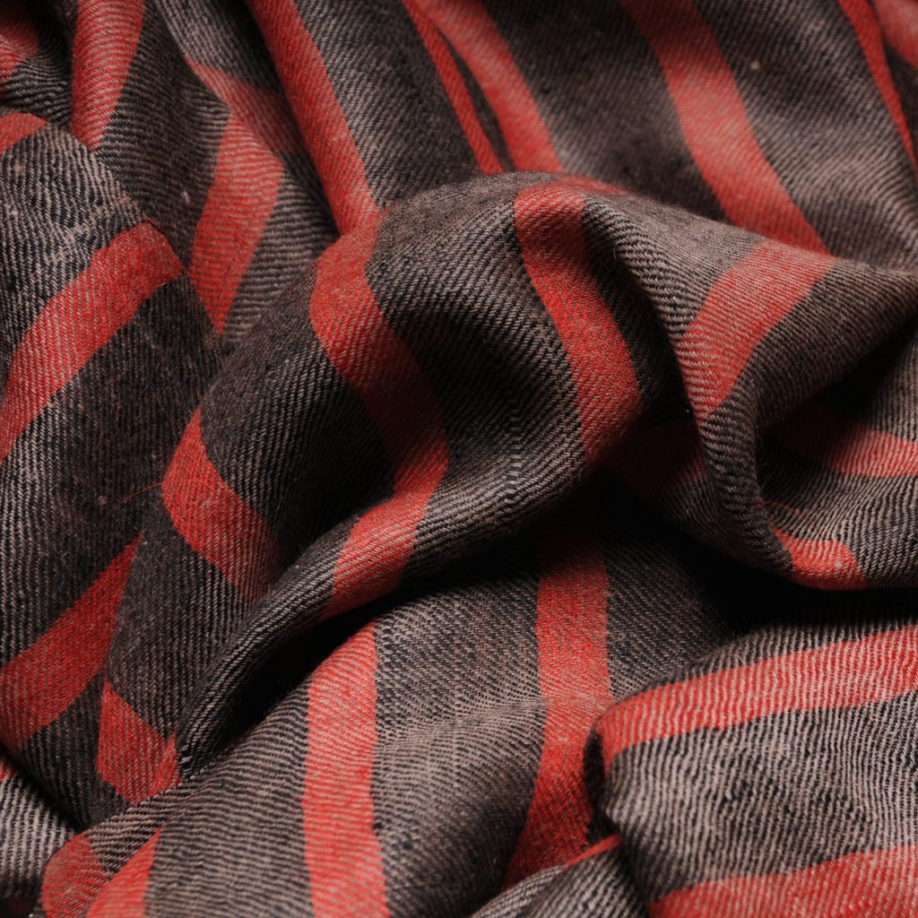 véritable pashmina en cachemire marinière à rayures rouges et noires