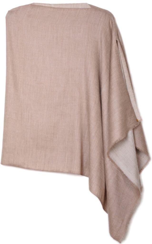 poncho pashmina en pur cachemire bicolore beige naturel