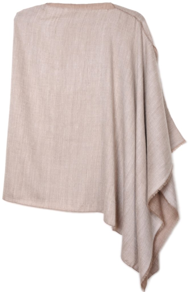 poncho pashmina 100% cashmere dual shaded natural