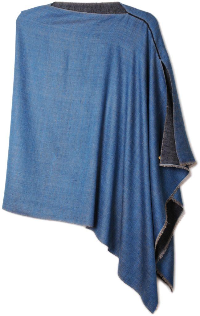 poncho pashmina en pur cachemire bicolore bleu