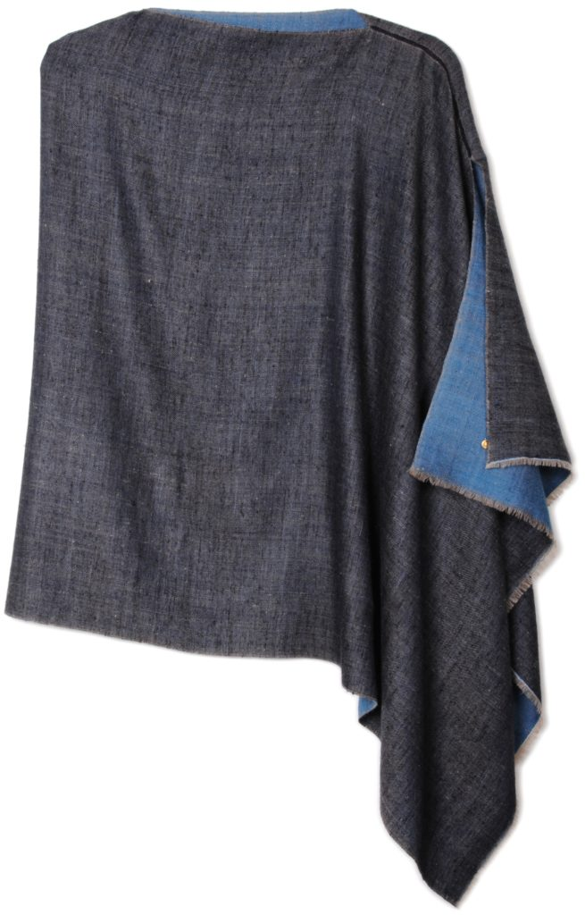 poncho pashmina 100% cashmere dual shaded blue
