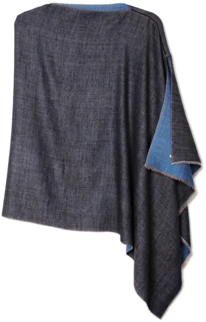 poncho pashmina en pur cachemire bicolore bleu et marine
