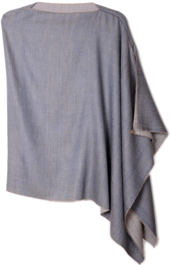 poncho pashmina en pur cachemire bicolore gris