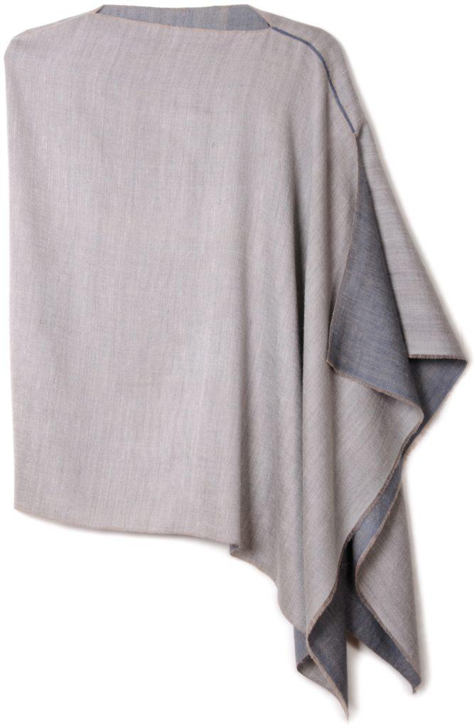 poncho pashmina en pur cachemire bicolore gris perle