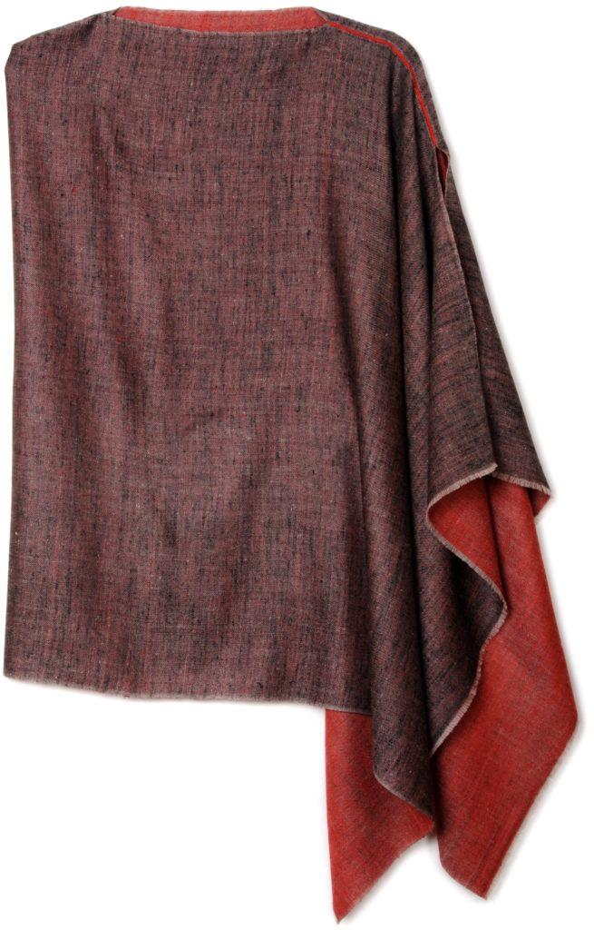 poncho pashmina 100% cashmere bicolore rosso e nero