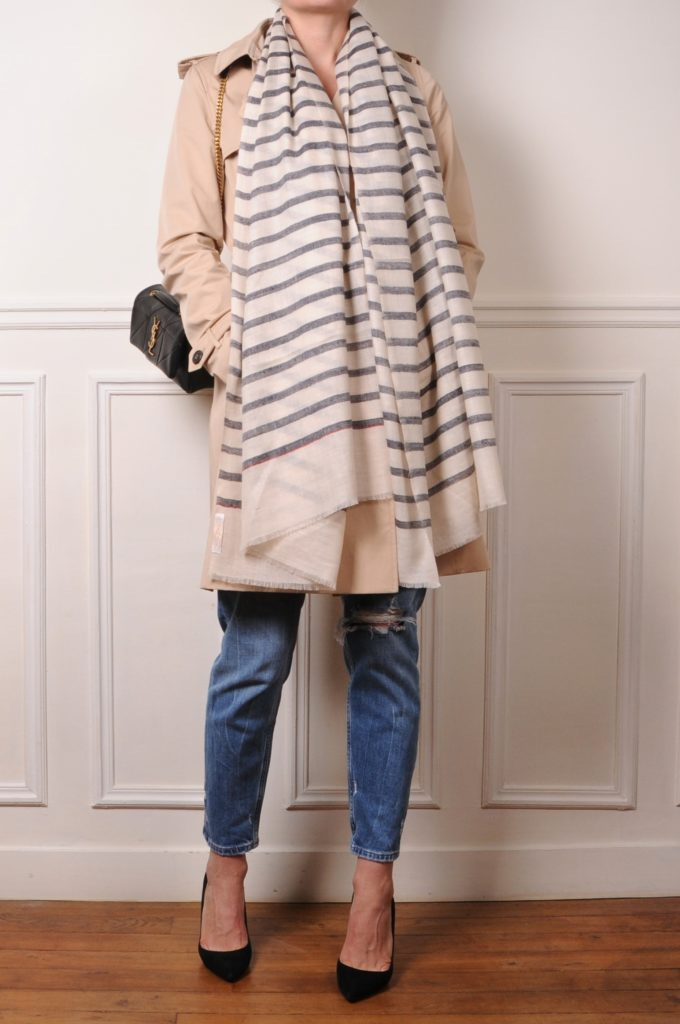 trench with a cashmere pashmina shawl with breton stripes