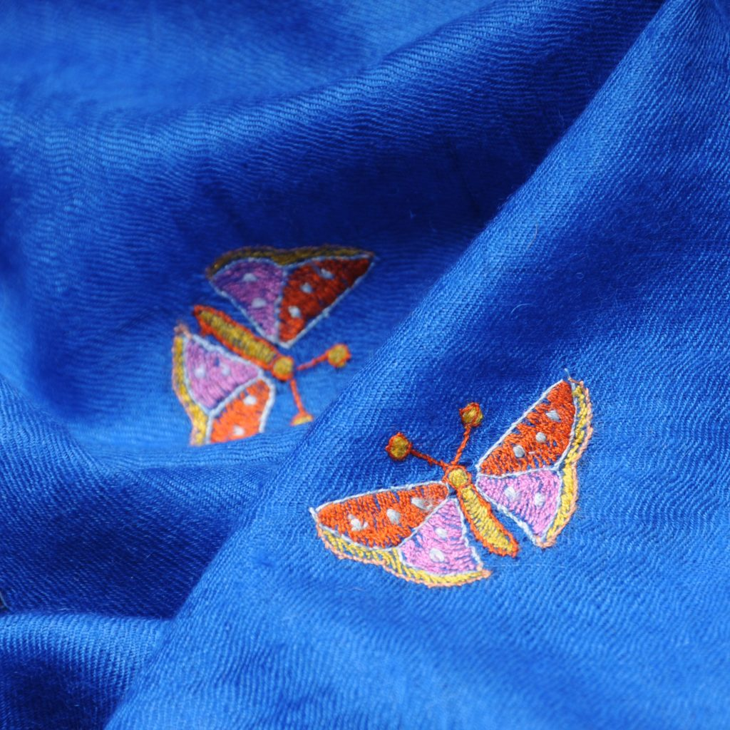 FARFALLA BLEU embroidered pashmina stole